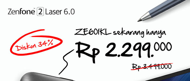 Asus Zenfone 2 Laser ZE601KL Diobral, Ini Harga Barunya