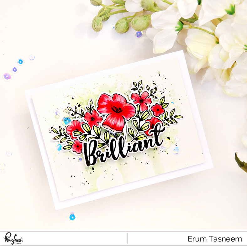Pinkfresh Studio Fleur 1 and Word Series: Brilliant Stamp Sets | Altenew Artist Markers | Erum Tasneem | @pr0digy0