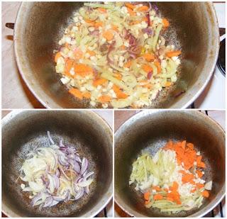 preparare tocana de iepure, retete ceapa morcovi telina usturoi si ardei calite la ceaun pentru mancare de iepure,