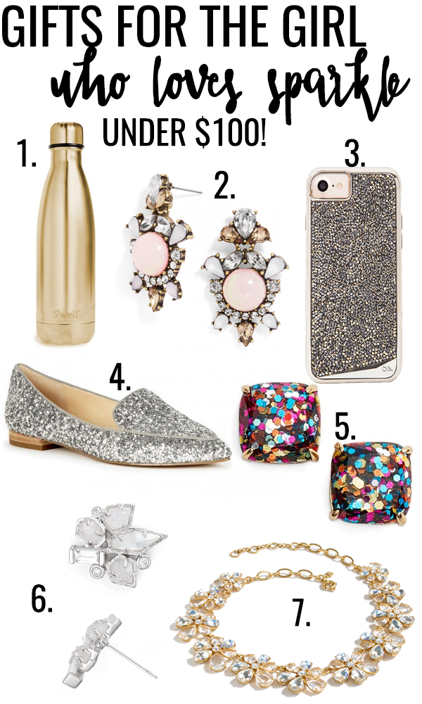 Welcome to my first ever gift guide on Truly Yours, A.! Today's gift guide is for the girl who's not afraid to shine and she lights up any room she walks in: the girl who loves sparkle! I've put together my top list of baubles and bling for the lady who is not afraid of the spotlight. All of these gifts are under $100 so they're perfect for sisters, best friends, coworkers, and anybody else on your gift list!