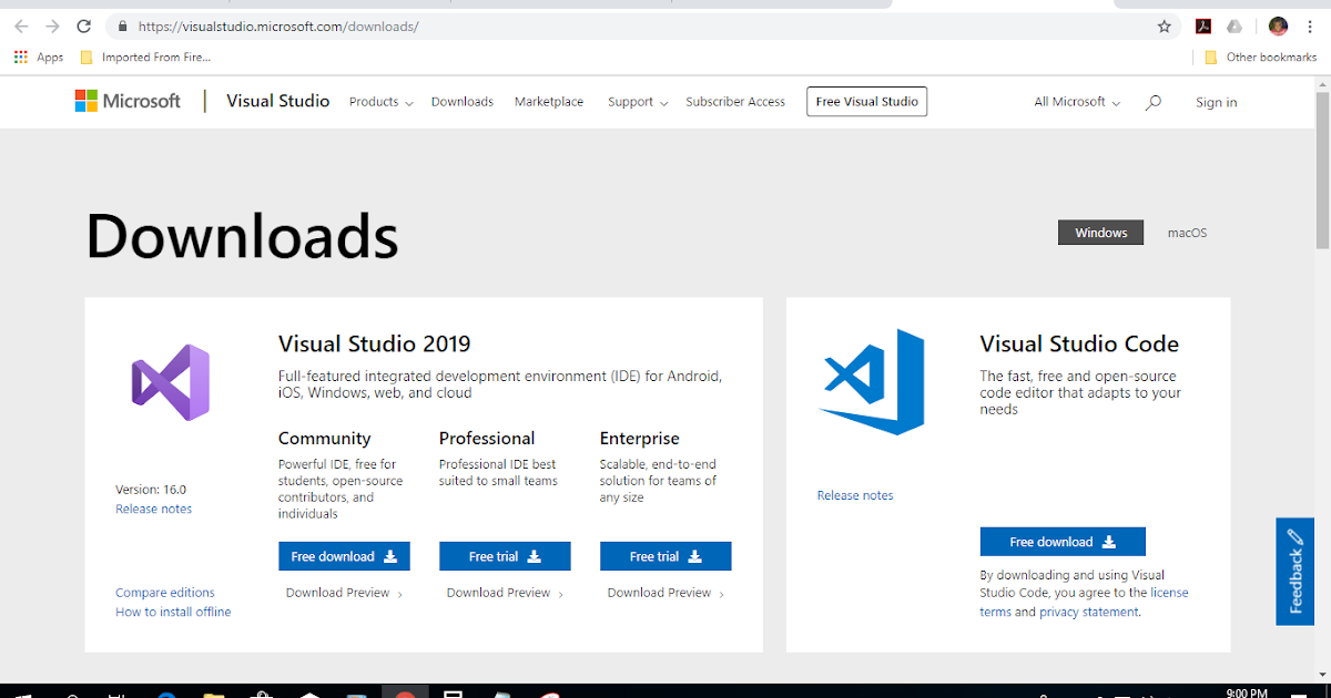 Naheez Thawfeeg's Blog: Visual Studio™ Community 2019