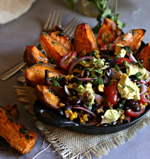 Southwestern-Black-Bean-Salad-with-Sweet-Potato-Wedges