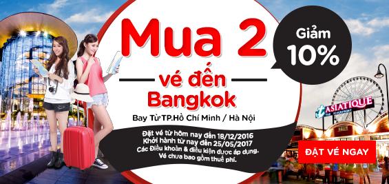 Bán vé đi Bangkok giảm 10%