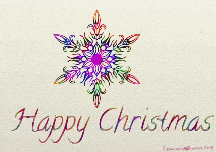Small watercolour snowflake mandala Happy Christmas ecard