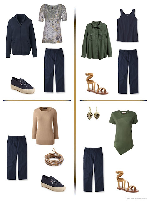four ways to style a pair of navy cropped pants from a travel capsule wardrobe