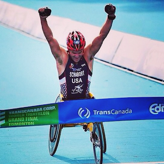 paratriathlete Krige Schabort winning the 2014 ITU World Championship