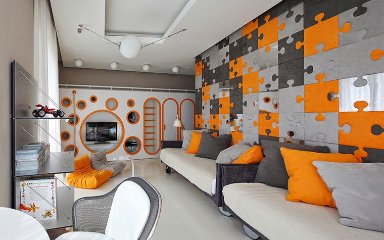 Creative Kids Room Design Orange Gray Puzzle Style