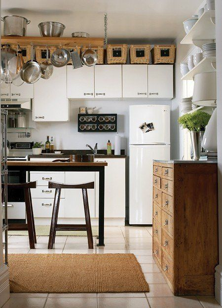baskets used as storage in kitchen
