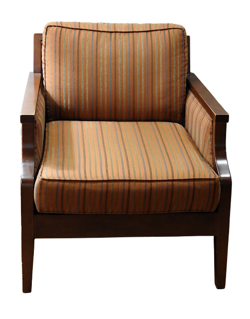 An office or lobby type armchair with orange and brown striped material with a wood frame in darker brown.