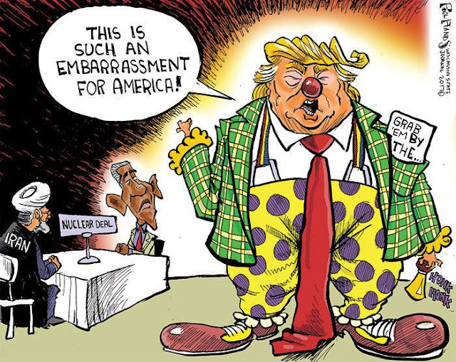 Donald Trump in clown suit with