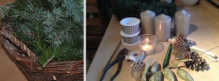 Material: Kerzen, Draht, Deko und schleifenband