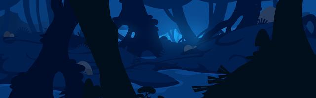 illustration d'un décor de forêt magique en flat design