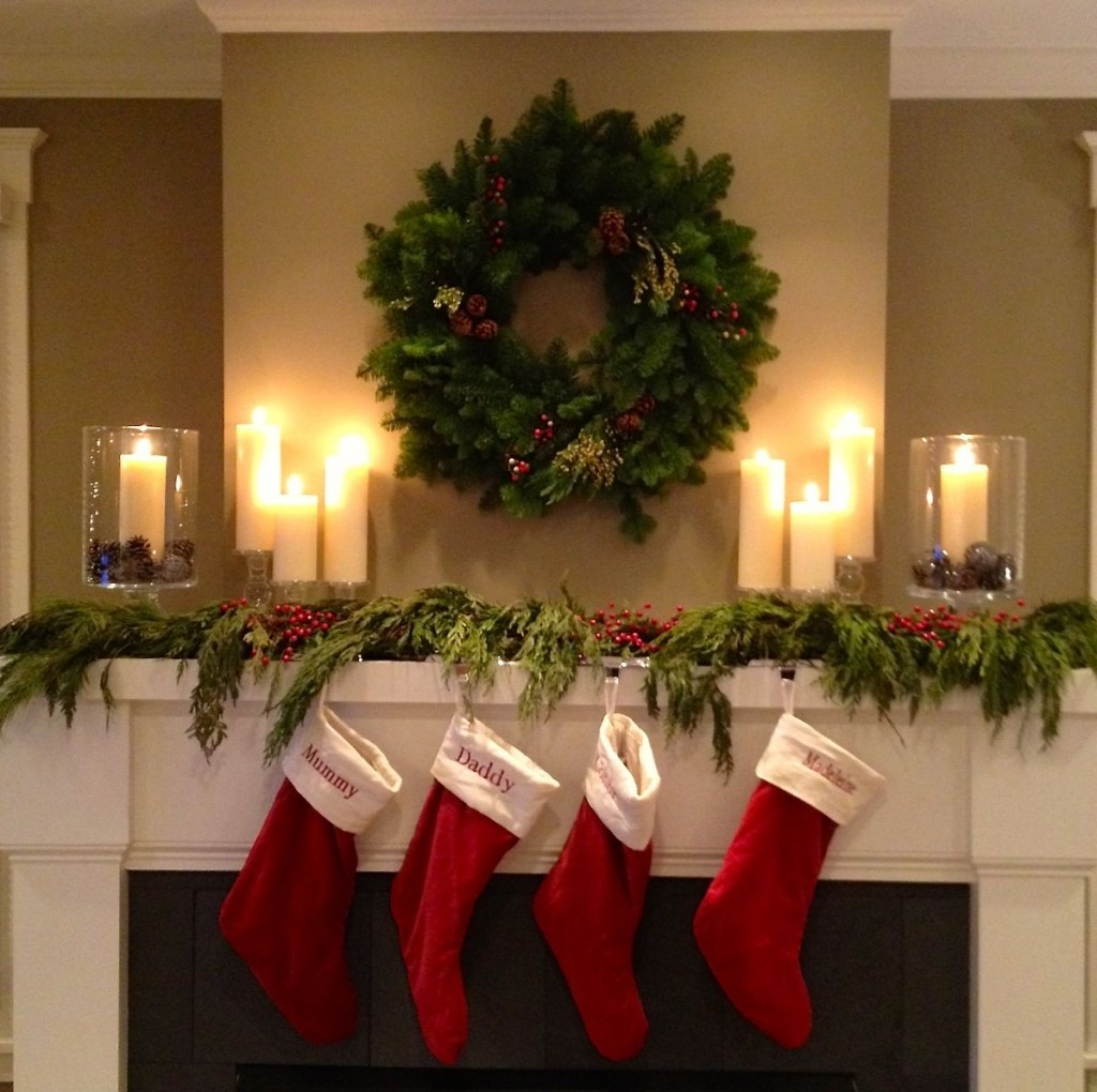 Carolers Displayed On A Mantle With Garland And Stockings: C.B.I.D. HOME DECOR And DESIGN: CHRISTMAS: THE WARMTH OF RED
