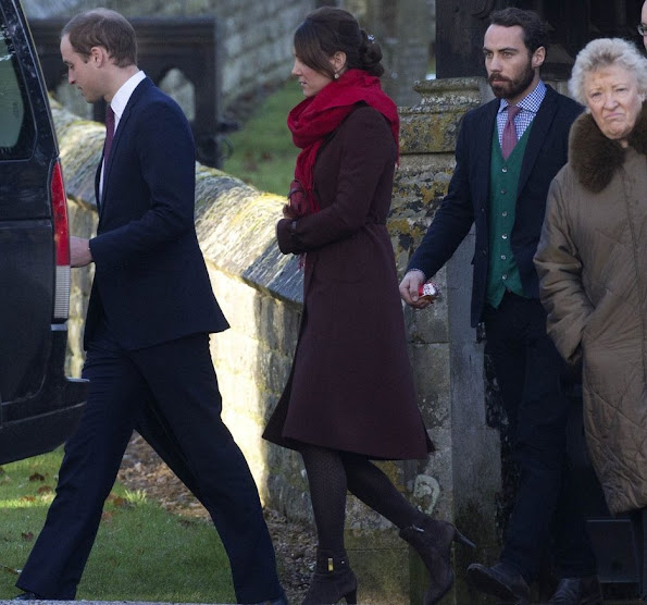 Pregnant Kate Middleton. Prince William and Catherine, Duchess of Cambridge attend christmas day service
