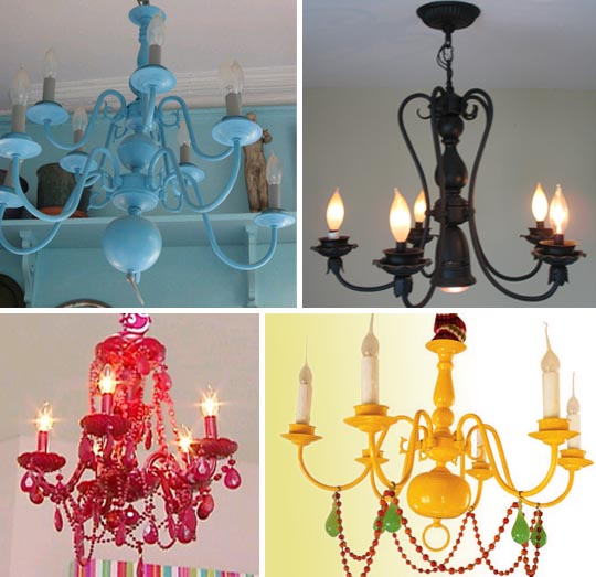 Domestic8d: Spray Painted Chandeliers