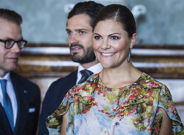 Crown Princess Victoria wore a specially designed dress by Swedish fashion designer Jennifer Blom. Queen Silvia