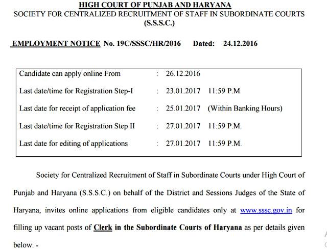 Punjab And Haryana High Court Clerk Recruitment