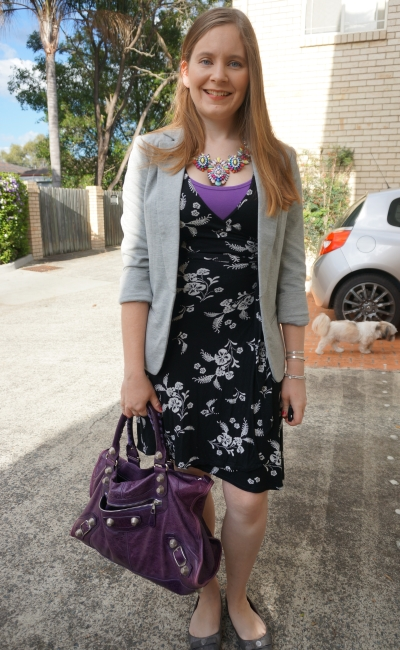 floral wrap dress, grey jersey blazer with statement necklace and purple work bag | away from the blue