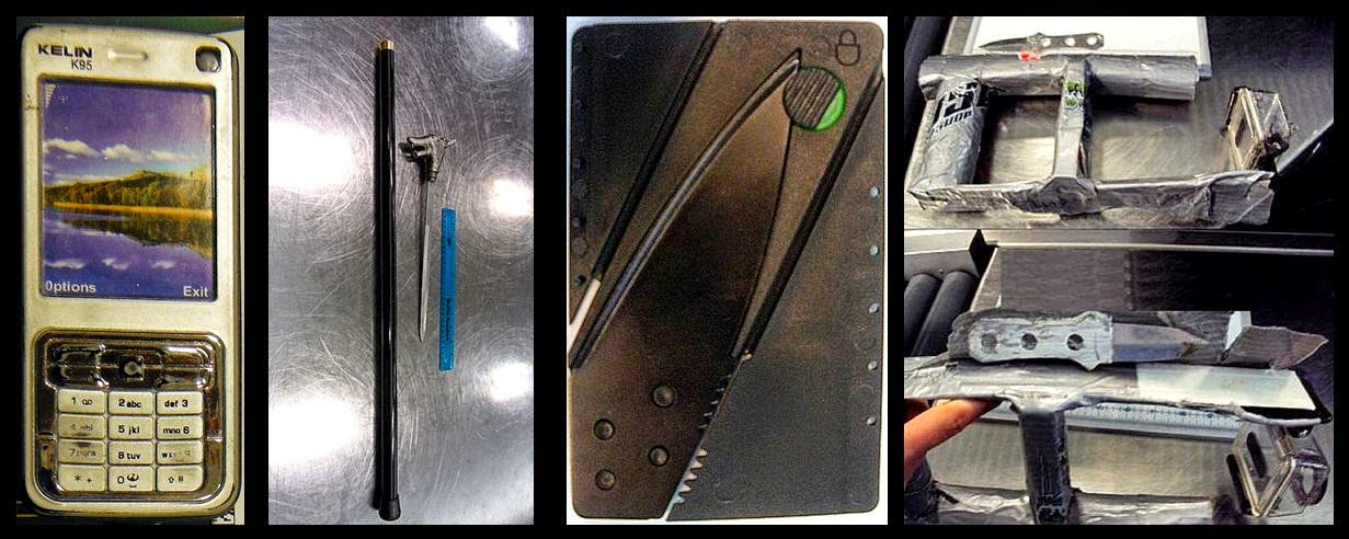 Cell Phone Stun Gun (LAS), Cane Sword (FAT), Credit Card Knife (CVG), Knife in Camera Mount (FLL)