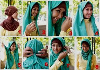 Tutorial hijab paris bergambar