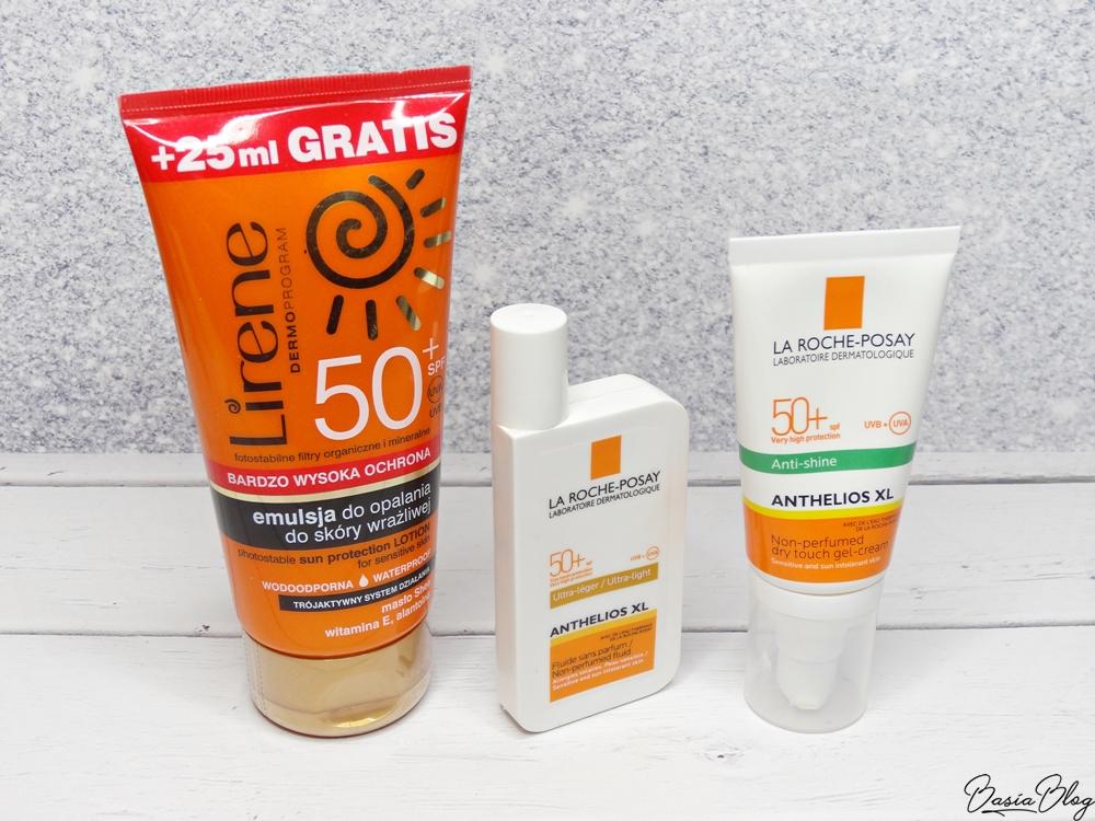 Dobre filtry do twarzy, emulsja Lirene SPF50, La Roche-Posay Anthelios fluid ultralekki, suchy żel-krem w dotyku