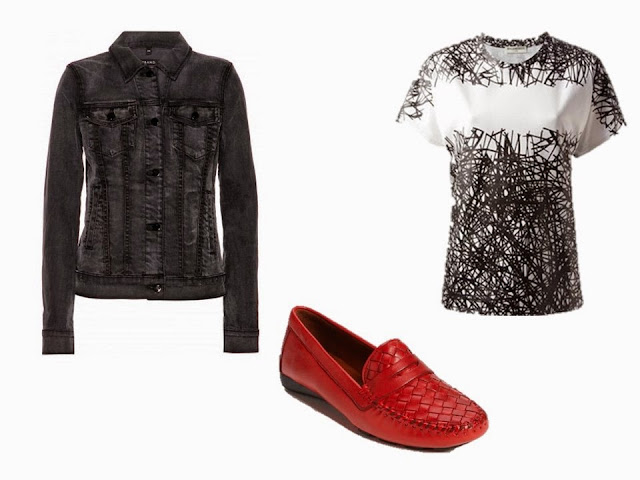 black denim jacket, black and white tee shirt, and red loafers to add to the Black and Grey Starting From Scratch Wardrobe