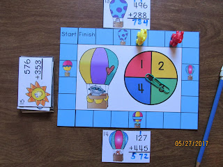 Hot Air Balloon 3 Digit Addition Regrouping Task Cards