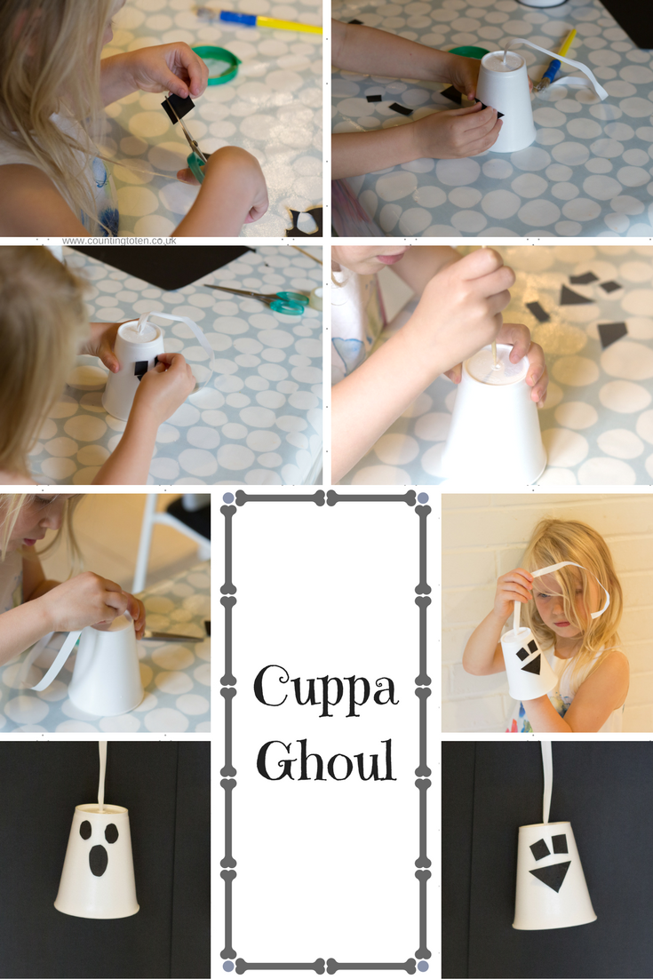 Photographs to illustrate how to make Cuppa Ghouls as described below