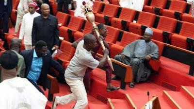 Armed men storm Nigeria's senate, stealing mace