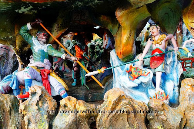 A scene from Journey to the West, where Sun Wukong fighting with Red Boy, Diorama from Haw Par Villa, Singapore