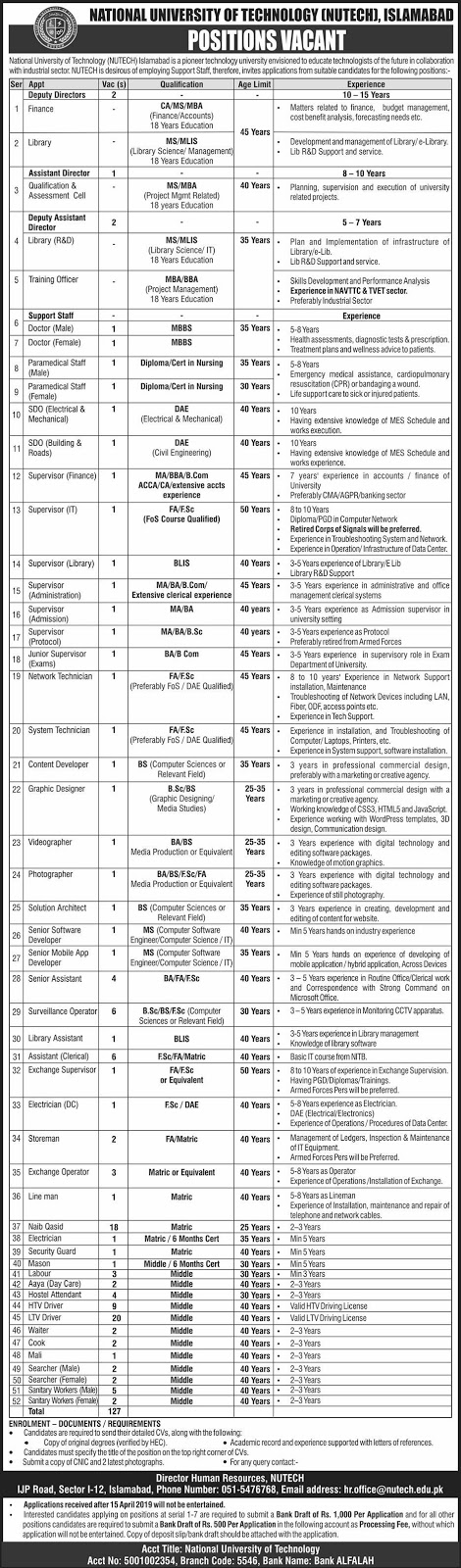 Advertisement for National University of Technology Islamabad Jobs April 2019