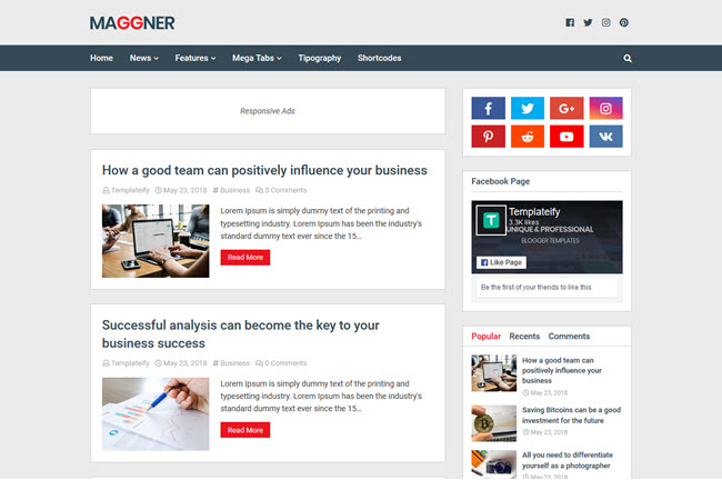 New Maggner - Responsive Blogger Template