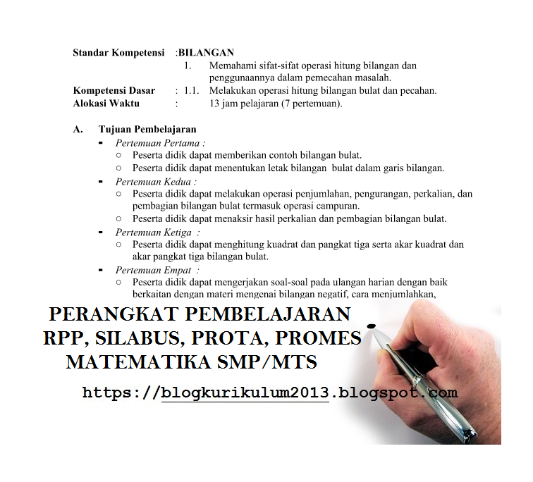 Rpp Silabus Prota Promes Matematika Kelas 7 8 9 Kurikulum 2013 Revisi 2017 Smp Mts Blog Kurikulum 2013