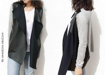 Chaleco-chaqueta polipiel reciclando un cardigan