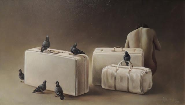 Alberto Pancorbo arte moderno hiperrealista surrealista viaje con maletas paloma soledad