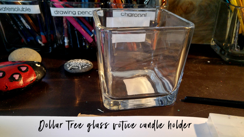 dollar tree glass candle votive holders for art supplies organization