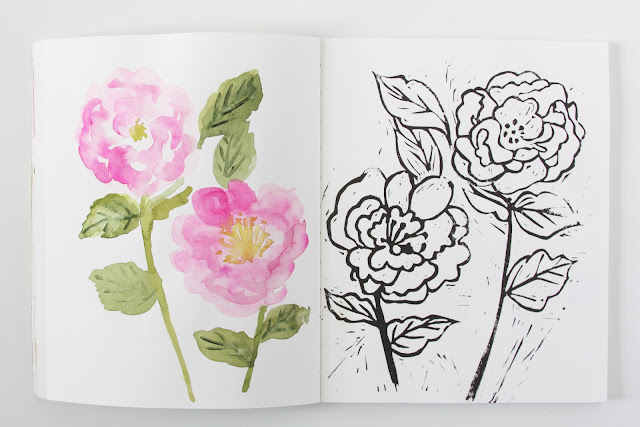 2x2, 2x2 Sketchbook, sketchbooks, artist collaborations, Dana Barbieri, Anne Butera, watercolor, block printing