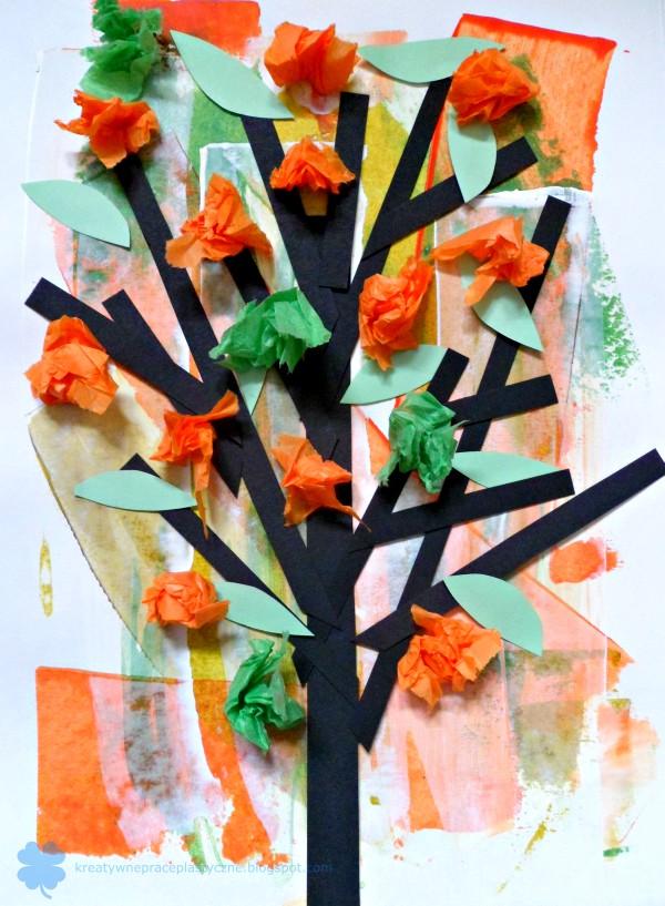 praca plastyczna wiosenne drzewo