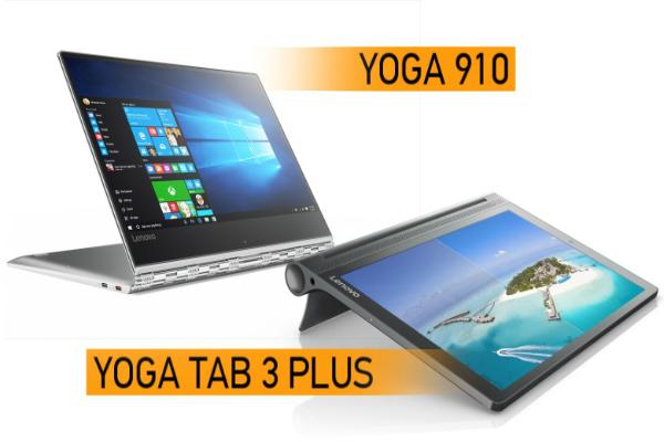 لينوفو تطلق الحاسوب المحمول القابل للتحويل Yoga 910 والجهاز اللوحي بنظام أندرويد Yoga Tab 3 Plus