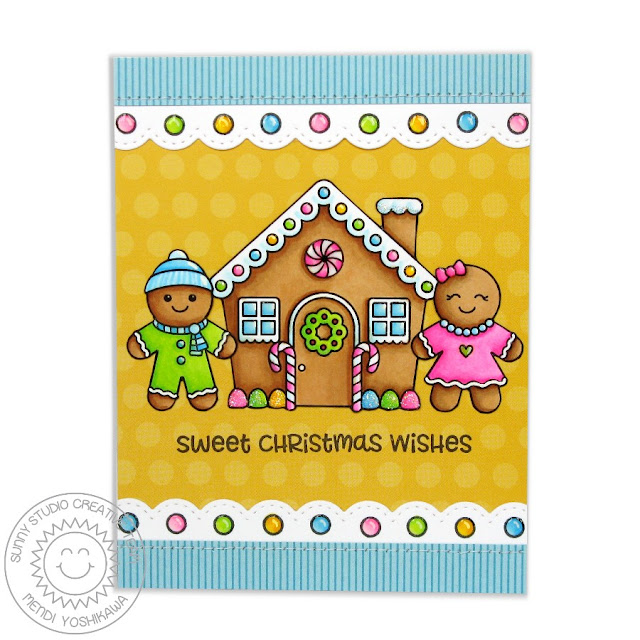 Sunny Studio Stamps: Jolly Gingerbread Hot Pink Sweet Christmas Wishes Card by Mendi Yoshikawa