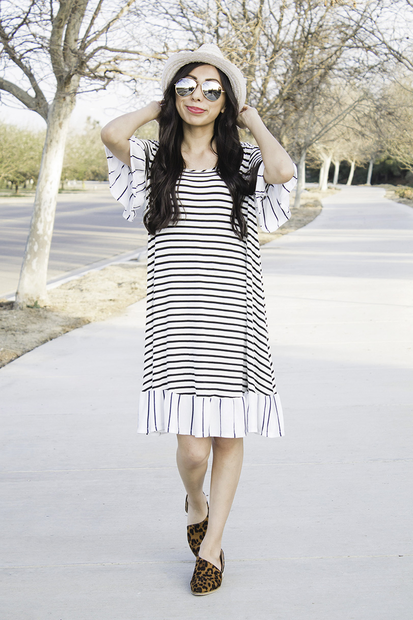 striped ruffle dress with hat sunglasses and leopard booties