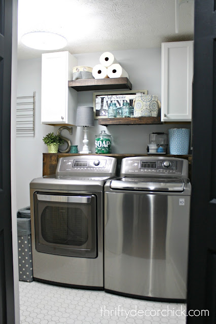how to build floating shelves in laundry room