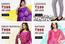 Women's Clothing Value Store: Kurta Rs.499 & less | Leggings Rs.199 & less | Dress Materials Rs.999 & less | Inner Wear Rs.99 or less@ Flipkart