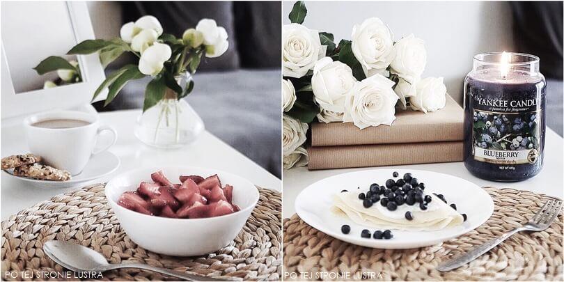 owsianka z truskawkami i naleśniki z jagodami
