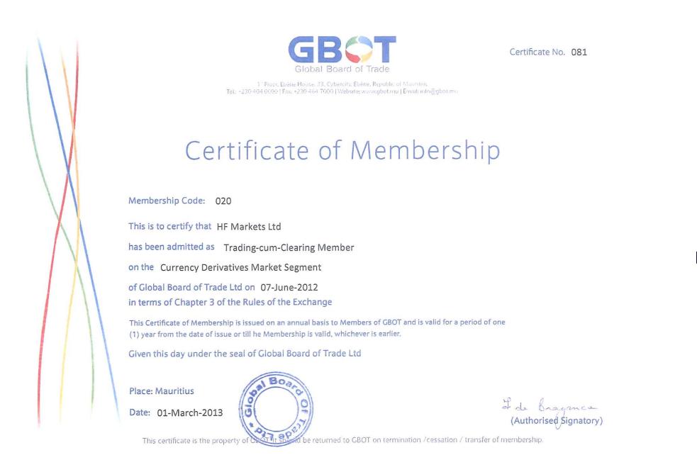 HotForex thành viên của Global Board of Trader