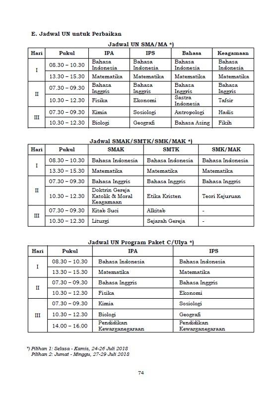 Lengkap, Cek Tanggal Penting serta Jadwal UN 2018 SMP/MTs SMA/MA SMK dan Sederajat