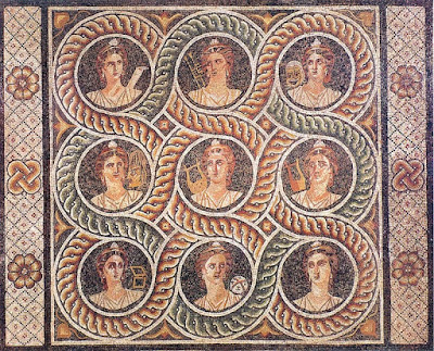 nine muses, traditional patronesses or Goddesses of the Arts