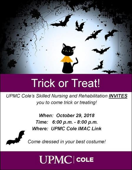 10-29 Trick or Treat, UPMC Cole IMAC