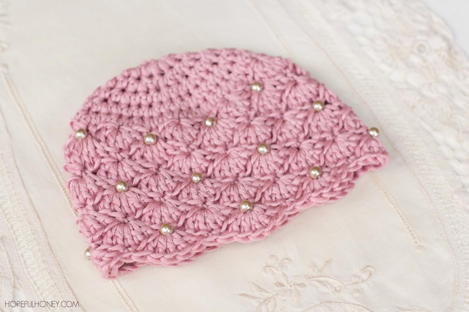 hopeful honey | craft, crochet, create: vintage pearl baby hat