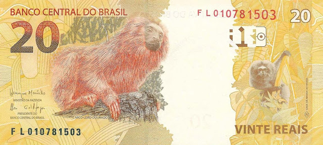 Brazilian Currency 20 Reals banknote 2010 Golden Lion Tamarin